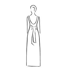 Abstract drawing of a slim woman wearing backless vector image
