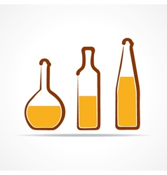 Abstract yellow wine bottles vector