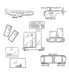 Air and rail delivery service icons vector image