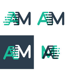 am letters logo with accent speed in tosca green vector image