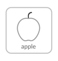 Apple icon gray outline flat sign isolated white vector
