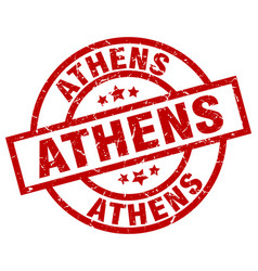 Athens red round grunge stamp vector
