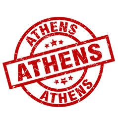 Athens red round grunge stamp vector