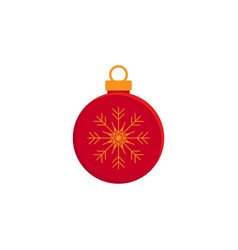 bauble christmas new year red flat icon on white vector image