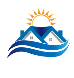 Blue house with waves icon vector
