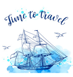 Blue travel background with sailing ship vector