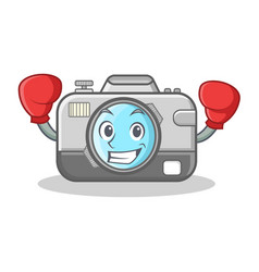 boxing photo camera character cartoon vector image