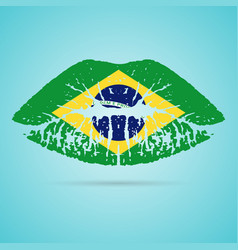 Brazil flag lipstick on the lips isolated on a vector