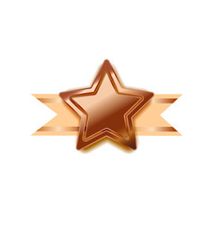 Bright bronze award in star shape with beige tape vector