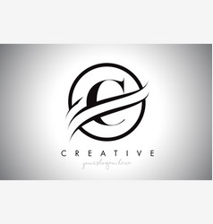 C letter logo design with circle swoosh border vector