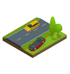 car flipped car turned over after accident vector image