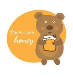 Cartoon cute bear with pot of honey vector image