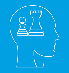 chess inside human head icon outline style vector image