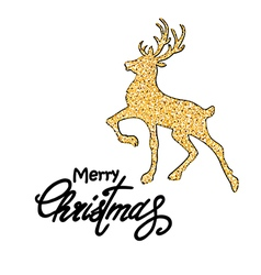 Christmas golden deer vector