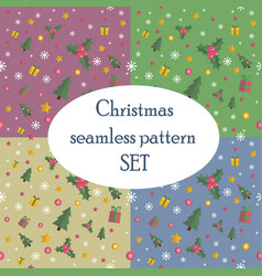 christmas seamless pattern set with flat design vector image