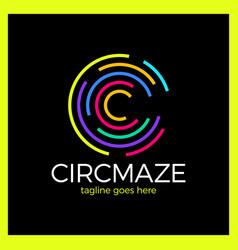 circle maze logo - letter c vector image