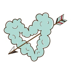 Cloud heart with arrow vector image