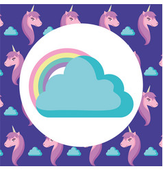 Clouds and rainbow design vector