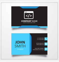 coding icon business card template vector image