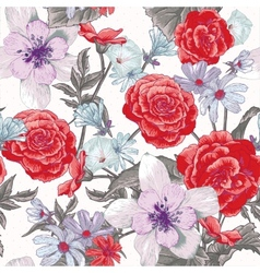Colorful seamless floral pattern with wildflowers vector