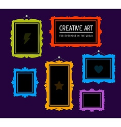 Colorful set of rectangular frames on pur vector