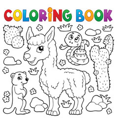Coloring book with cute animals 4 vector