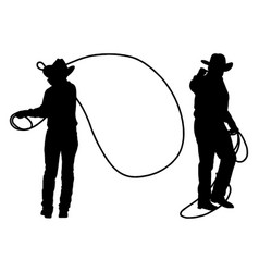 Cowboys with lasso silhouette vector