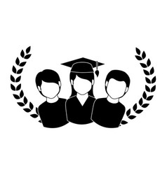 crown leaves with group people graduated vector image