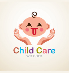 cute baby cartoon flat icon adorable child vector image