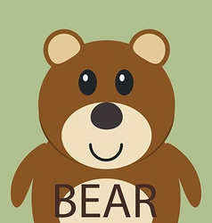 Cute brown bear cartoon flat icon avatar vector