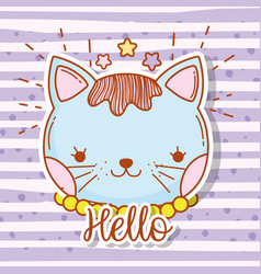 cute cat head with hair and stars vector image