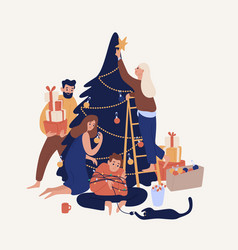 Cute smiling people decorating christmas tree with vector