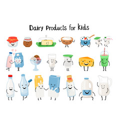 dairy products for kids vector image