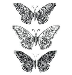 Decorative sketch butterflies vector