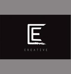 E monogram letter logo design brush paint stroke vector