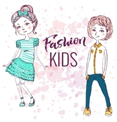 Fashion style kids vector image