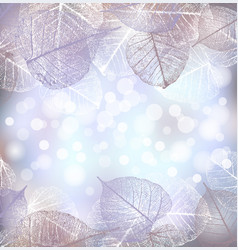 festive winter background of bokeh lights with vector image