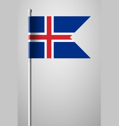 Flag of iceland national flag on flagpole vector