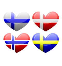 Flags of Scandinavia in the form of heart vector image