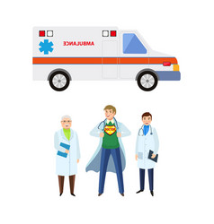 flat doctor nurse surgeon ambulance car set vector image