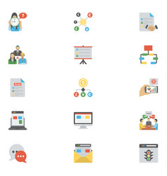 flat icons pack of project management vector image