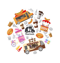 flat street food round concept vector image