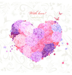 flower heart on background with swirl pattern vector image