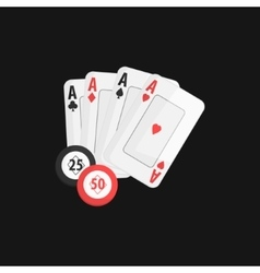 Four aces and casino chip game of poker vector