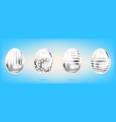 Four silver eggs on the sky blue background vector
