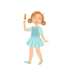 Girl Walking Holding Ice-Cream On A Stick vector