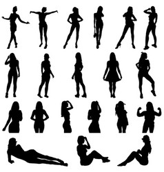 Girls silhouette in black in various poses vector