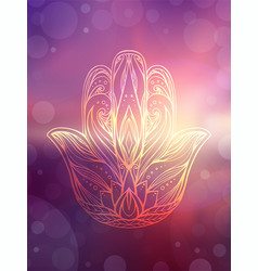 Hamsa with tribal pattern on blurred ocean and vector