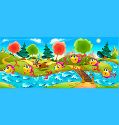 Happy fish are dancing in the river vector