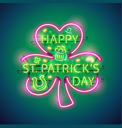 Happy st patricks day neon sign vector